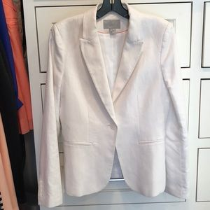 H&M white linen blazer size 8